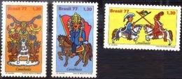 BRAZIL #1520-22  - FOLKLORE NATIONAL FESTIVAL - FOLK FESTIVAL - FESTIVITIES 1977 - Unused Stamps