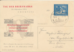 Germany DDR Stamp's Day Chemnitz 28-10-1951 Very Nice Card - Stamp's Day