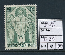 BELGIQUE COB 348 LH - Neufs