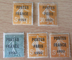 France - Lot De 5 Timbres Semeuse Préoblitérés 1921 / 1922 Sur Charnières - YT N°29, 30, 33, 36, 37 - Bonne Cote - Precancels