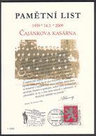 Rep. Ceca / Foglio Commemorative (PaL 2009/01) 190 15 Praha 915: Caserma Militare Di Czajankova (70 Anni Di Resistenza) - Boemia E Moravia