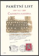 Rep. Ceca / Foglio Commemorative (PaL 2009/01) 190 15 Praha 915: Caserma Militare Di Czajankova (70 Anni Di Resistenza) - Scoutismo