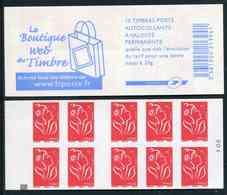 """Carnet De 2006 De 10 Timbres Type """"Lamouche"""" Avec Couvert. Blanche """"La Boutique Web Du Timbre"""" - Avec CARRE NOIR - Usage Courant"""