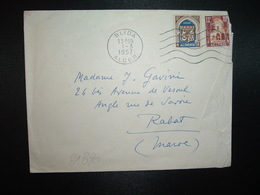 LETTRE TP ORAN 8F + TP 12F OBL.MEC.1-3 1957 BLIDA ALGER Pour J. GAVINI RABAT MAROC - Algeria (1924-1962)