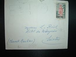 LETTRE TP TLEMCEN GRANDE MOSQUEE OBL.MEC.27-12 1962 ORAN ST CHARLES Pour HOTEL DES MESSAGERIES SAINTES CHARENTE MARITIME - Algérie (1962-...)