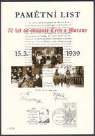 Tchéquie / Feuille Commémorative (PaL 2009/02) 119 00 Praha 012: 70 Anniv. D'occupation Tchécoslovaquie - Blocs-feuillets
