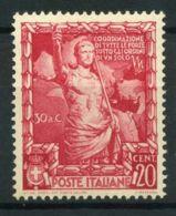 Italie Royaume 1938 Sass. 440 Neuf ** 100% 20 C. Empire - 1900-44 Victor Emmanuel III.