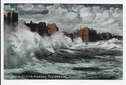Storm Scene, Ramsey Promenade. Manx Sun Series 0232 (brown Back) - Isle Of Man