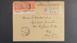 """Lettre Recommandé Neuf-Marché Seine Inf. 1931 Bande De 3 Type Semeuse N° 199 Bande Pub """" SPHERE Revue Coloniale.. """" - Marcophilie (Lettres)"""