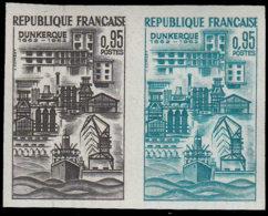 FRANCE Essais  1317 Paire D'essais En Noir Et émeraude: Dunkerque, Le Port, Bateaux - Essais