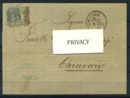 Italie Royaume 1870 Sass. 26 Enveloppe 100% Enveloppe Genova Ballorso Chiavari - 1861-78 Vittorio Emanuele II