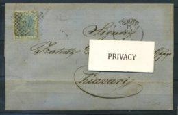 Italie Royaume 1869 Sass. 26 Enveloppe 100% Enveloppe Genova Chiavari - 1861-78 Vittorio Emanuele II