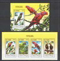 QQ360 2014 S. TOME E PRINCIPE FAUNA BIRDS PARROTS PAPAGAIOS KB+BL MNH - Perroquets & Tropicaux