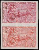 FRANCE Essais  1378 Paire D'essais En Orange Et Carmin: Journée Du Timbre 1963, Char Gallo-romain, Chevaux - Proofs