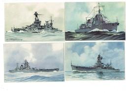 Lot 4 Cpa Bateau Guerre Illustration HAFFNER Contre-torpilleur Mogador Cuirassé Strasbourg Lorraine Croiseur Algérie - Guerre