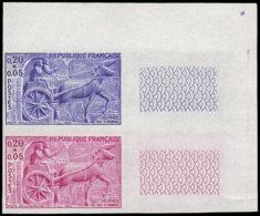 FRANCE Essais  1378 Paire D'essais En Bleu Et Rouge, Cdf: Journée Du Timbre 1963, Char Gallo-romain, Chevaux - Proofs