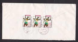 Mozambique: Registered Cover To Netherlands,1993, 9 Stamps, Olympics, Running Sports, Rare Real Use (minor Discolouring) - Mozambique