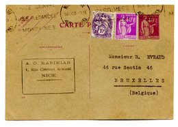France Entier Type Paix + N°233 Et 281 De Nice Pour Bruxelles (Belgique) 1933 - (B2056) - Cartes Postales Types Et TSC (avant 1995)