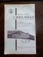 Reclame Uit 1949 Fabr.  D' Armes   J. BOULANGER   LIEGE - Publicités