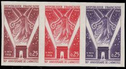 FRANCE Essais  1576 Bande De 3 Essais En Rouge/brun-rouge/violet: 50°an De L'armistice - Essais