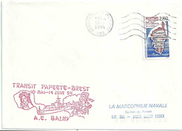 Secap Du BPM 703 - Mururoa - Transit De L'Aviso Escorteur Balny Vers Brest - Marcophilie (Lettres)