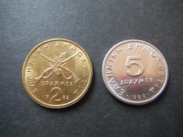 2 Et 5 Drachmes Grèce 1982 - Grèce