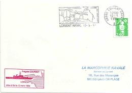 Secap De Lorient Naval - Mise à Flot De La Frégate Courbet - Postmark Collection (Covers)