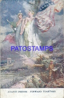 107748 US PATRIOTIC MULTI FLAG FORWARD TOGETHER & MUSIC DOUBLE DAMAGED POSTAL POSTCARD - Ohne Zuordnung