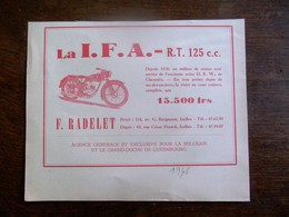Oude Reclame 1948 Moto  LA  I . F  . A  .   F. RADELET  IXELLES - Motos