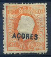 Azores 1871 Mi. 21 Neuf * 80% Surimprimé Roi Louis I, 80 R - Açores