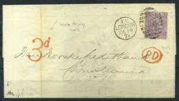 La Grande-Bretagne 1871 Mi. 30 Enveloppe 100% Banque De Princes Street London, CHRISTIANIA OMK, - Briefe U. Dokumente