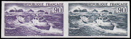 FRANCE Essais  1791 Paire D'essais En Violet Et Bleu-noir: Sauvetage En Mer - Ensayos