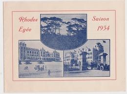 RHODES EGEE 1934  Dépliant Touristique - Advertising