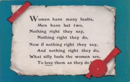 AM27 Comic/humour - Women Have Many Faults, Men Have But Two - Humour