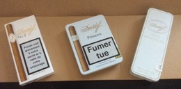 Lot De 4 Boites (vides)  Davidoff : Primeros & Long Panatellas (fer) - Mini Cigarillos (Bois) & N°3 (Carton) - Contenitori Di Tabacco (vuoti)
