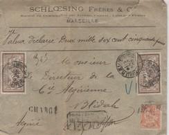 Lettre à Charge (2650.FR ) Marseilles-  Alger Blidah _  5 Beaux Cachets De Cire Rouge SFM Août 1902 - Marcophilie (Lettres)
