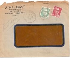 Enveloppe Scieries J Et L Siat à Urmatt, 1948, Timbres N° 807 + 721A - Other