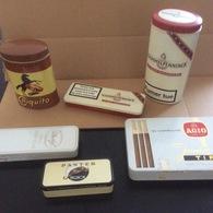 Lot De 6 Boites En Fer  (vides) Cigares :  Davidoff ,Long Panatellas - Schimmelpenninck (2)-Panter Mignon-Agio Junio & C - Boites à Tabac Vides