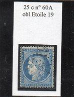 Paris - N° 60A Obl étoile 19 - 1871-1875 Ceres
