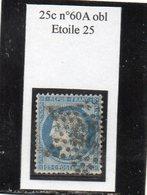 Paris - N° 60A (fente) Obl étoile 25 - 1871-1875 Ceres