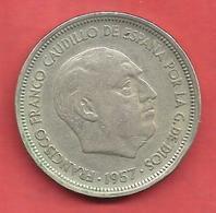 50 Pesetas , ESPAGNE , Cupro-Nickel , 1957 ( 58 ) , KM # 788 , Y # 120 - [ 5] 1949-… : Royaume