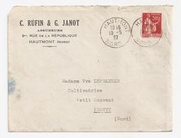 Enveloppe Ruffin Et Janot Assureurs à Hautmont, 1937, Timbre N°283 - Other