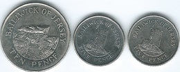 Jersey - Elizabeth II - 5 Pence - 2008 (KM105) & 2014 (KM105a); 10 Pence - 2010 (KM106) - Jersey