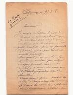 Correspondance Militaire Manuscrite Du Général Darde Du 9 Août 1908 à Quimper - Manuscrits