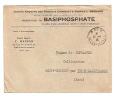 Enveloppe Produits Chimiques Et Engrais Bernard à Valenciennes, 1935, à Voyagé Sans Timbre - Other