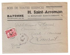 Enveloppe Bois Toutes Essences H. Saint Arroman à Bayonne, 1947, Timbre N° 721 - Other