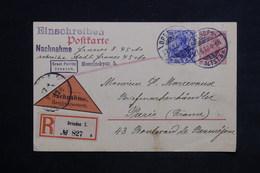 ALLEMAGNE - Carte De Correspondance De Dresden En Recommandé Contre Remboursement Pour Paris En 1912 - L 23470 - Covers & Documents