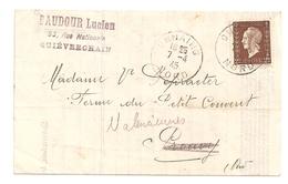 Facture Lucien Baudour à Quiévrechain, 1945, Timbre N°692 - Other