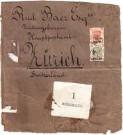 1890 Paketpapierstück Mit überdruckter Marken Aus Canton Nach Zürich - Hong Kong (...-1997)