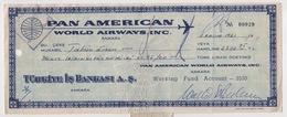 PAN AMERICAN WORLD AIRWAYS ,INC. TURKEY IS BANK CHEQUES 1961 - Chèques & Chèques De Voyage